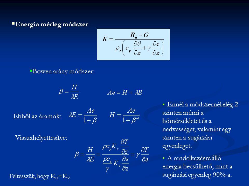  Energia mérleg módszer  Bowen arány módszer: Visszahelyettesítve: Ebből az áramok: Feltesszük, hogy K H =K V  Ennél a módszernél elég 2 szinten mé
