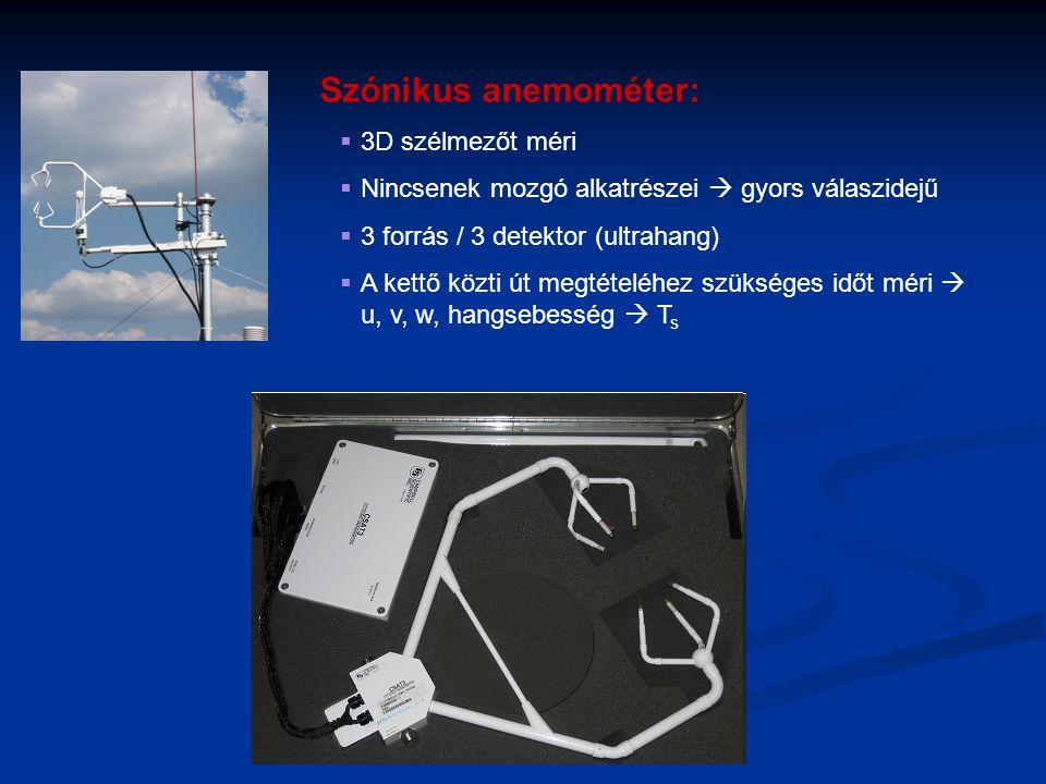 Szónikus anemométer:  3D szélmezőt méri  Nincsenek mozgó alkatrészei  gyors válaszidejű  3 forrás / 3 detektor (ultrahang)  A kettő közti út megt