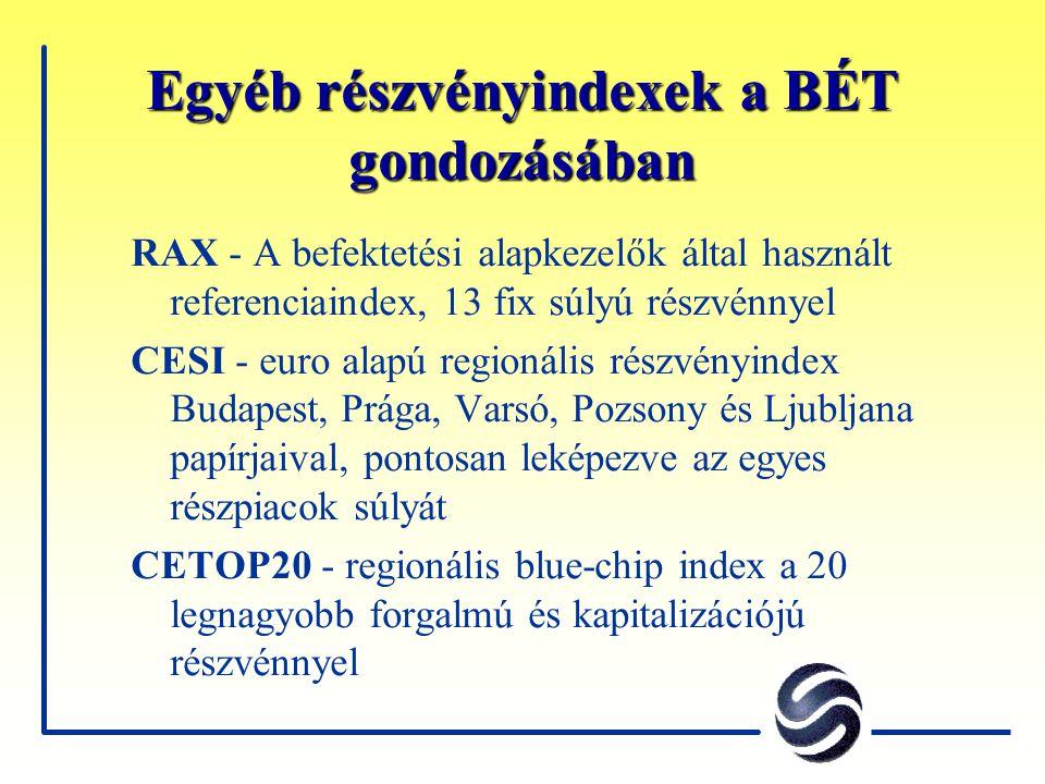 Egyéb részvényindexek a BÉT gondozásában RAX - A befektetési alapkezelők által használt referenciaindex, 13 fix súlyú részvénnyel CESI - euro alapú re