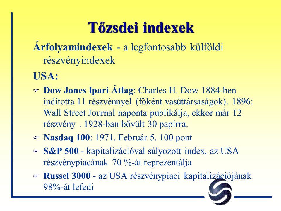 Tőzsdei indexek Árfolyamindexek - a legfontosabb külföldi részvényindexek USA: F Dow Jones Ipari Átlag: Charles H. Dow 1884-ben indította 11 részvénny
