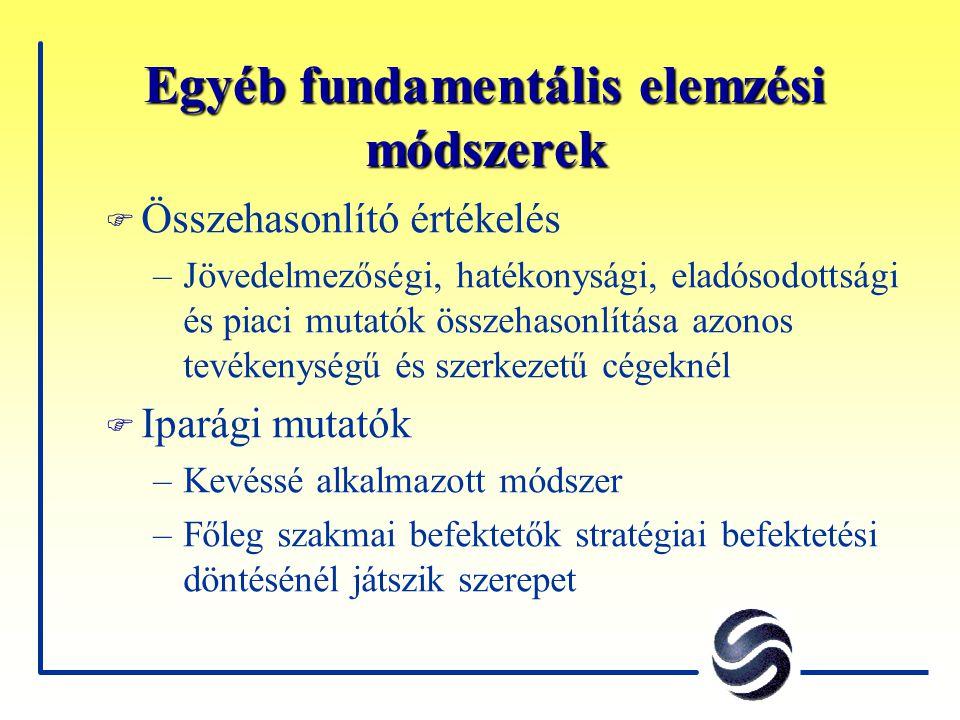 Egyéb fundamentális elemzési módszerek F Összehasonlító értékelés –Jövedelmezőségi, hatékonysági, eladósodottsági és piaci mutatók összehasonlítása az