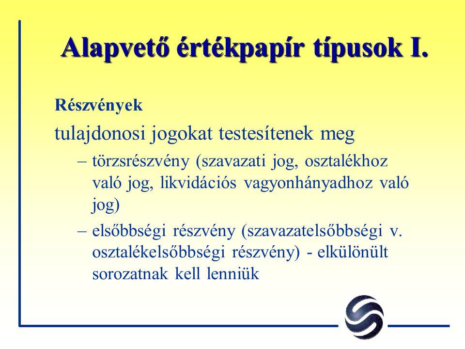A bevezetett részvénytársaságok jelentési kötelezettségei Rendszeres jelentési kötelezettség Éves jelentés - a magyar számviteli szabványoknak megfelelően, de az A kategóriában kell IAS és/vagy US GAAP szerinti jelentés is (határidő április 30.) Negyedéves gyorsjelentés - az A kategóriában (max.