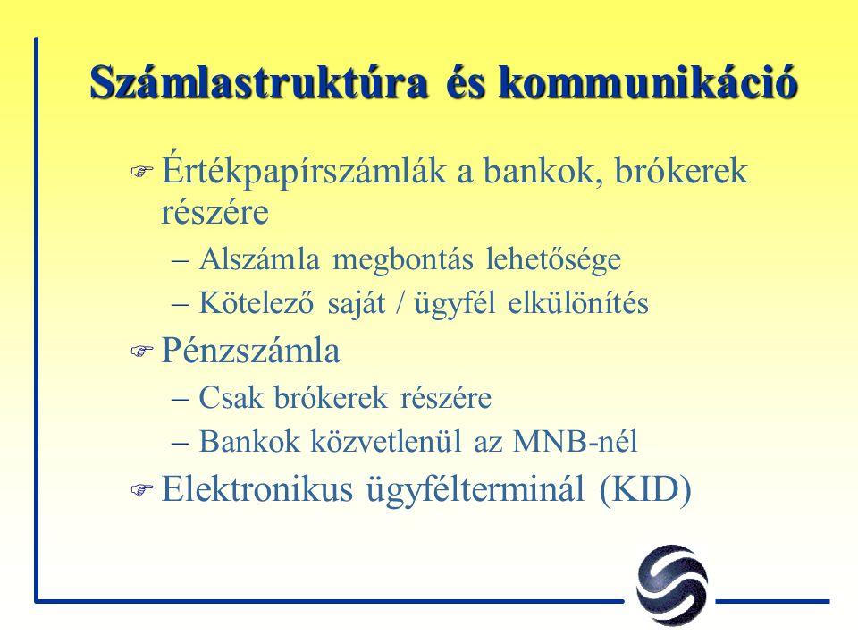 Számlastruktúra és kommunikáció F Értékpapírszámlák a bankok, brókerek részére –Alszámla megbontás lehetősége –Kötelező saját / ügyfél elkülönítés F P