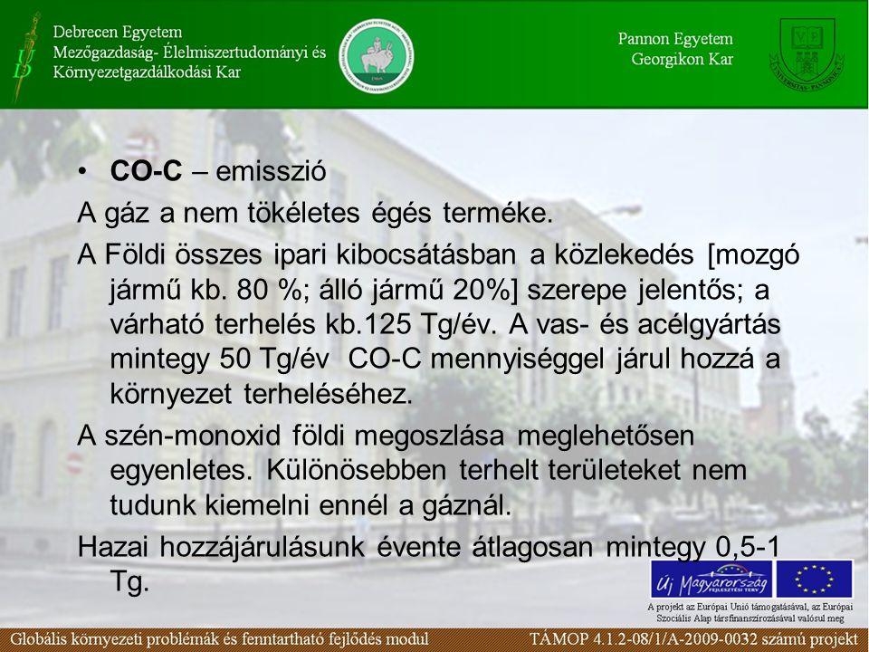 •CO-C – emisszió A gáz a nem tökéletes égés terméke. A Földi összes ipari kibocsátásban a közlekedés [mozgó jármű kb. 80 %; álló jármű 20%] szerepe je