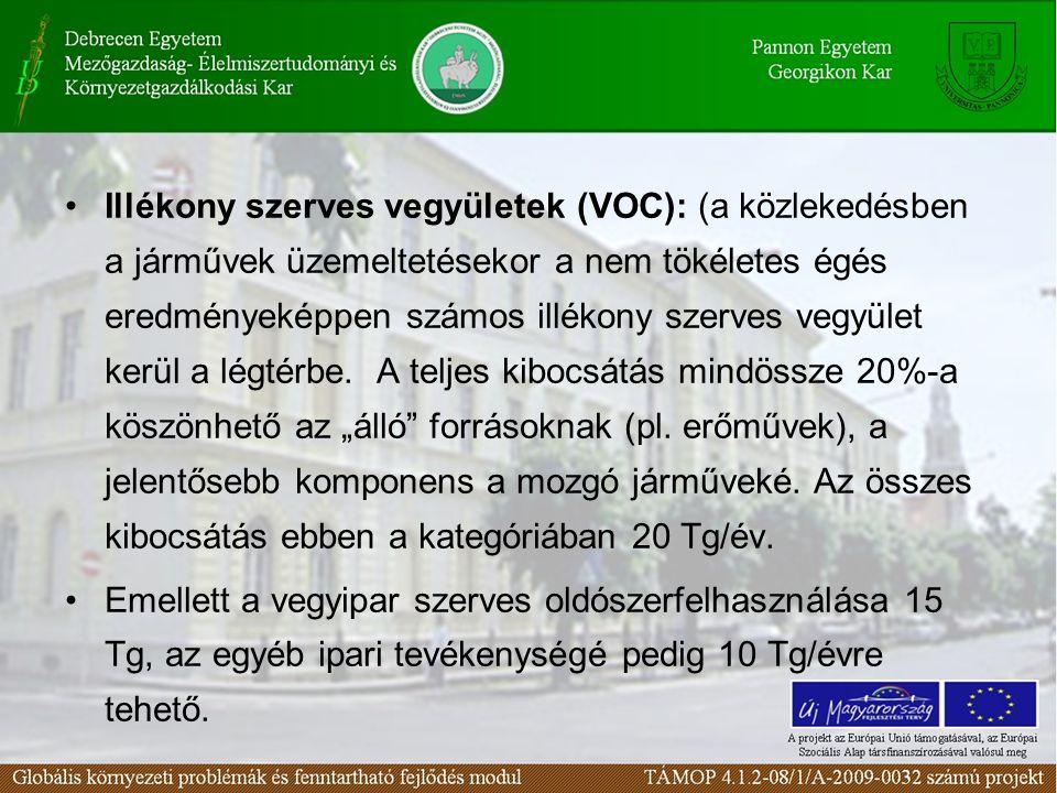 •Illékony szerves vegyületek (VOC): (a közlekedésben a járművek üzemeltetésekor a nem tökéletes égés eredményeképpen számos illékony szerves vegyület