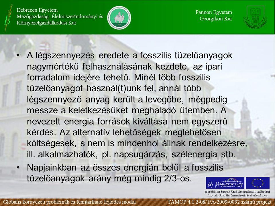 •A légszennyezés eredete a fosszilis tüzelőanyagok nagymértékű felhasználásának kezdete, az ipari forradalom idejére tehető. Minél több fosszilis tüze