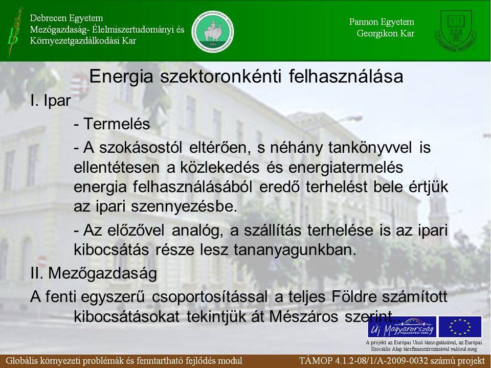 Energia szektoronkénti felhasználása I. Ipar - Termelés - A szokásostól eltérően, s néhány tankönyvvel is ellentétesen a közlekedés és energiatermelés