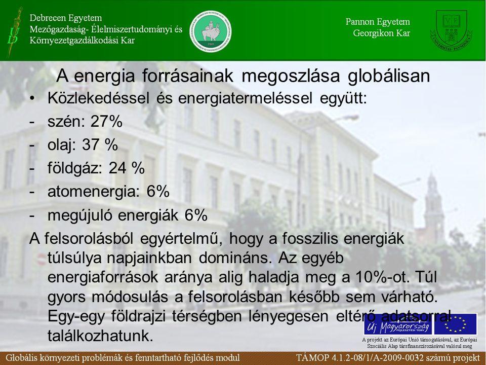 A energia forrásainak megoszlása globálisan •Közlekedéssel és energiatermeléssel együtt: -szén: 27% -olaj: 37 % -földgáz: 24 % -atomenergia: 6% -megúj
