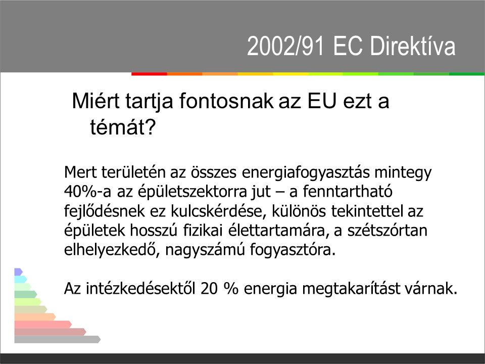 2002/91 EC Direktíva Miért tartja fontosnak az EU ezt a témát.