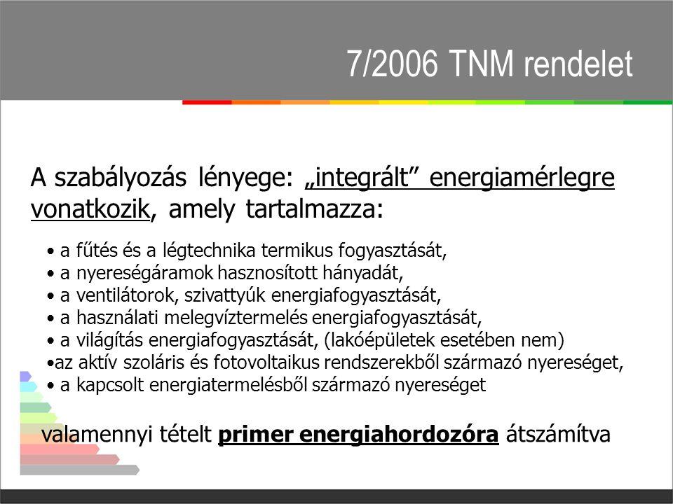"""7/2006 TNM rendelet A szabályozás lényege: """"integrált energiamérlegre vonatkozik, amely tartalmazza: • a fűtés és a légtechnika termikus fogyasztását, • a nyereségáramok hasznosított hányadát, • a ventilátorok, szivattyúk energiafogyasztását, • a használati melegvíztermelés energiafogyasztását, • a világítás energiafogyasztását, (lakóépületek esetében nem) •az aktív szoláris és fotovoltaikus rendszerekből származó nyereséget, • a kapcsolt energiatermelésből származó nyereséget valamennyi tételt primer energiahordozóra átszámítva"""