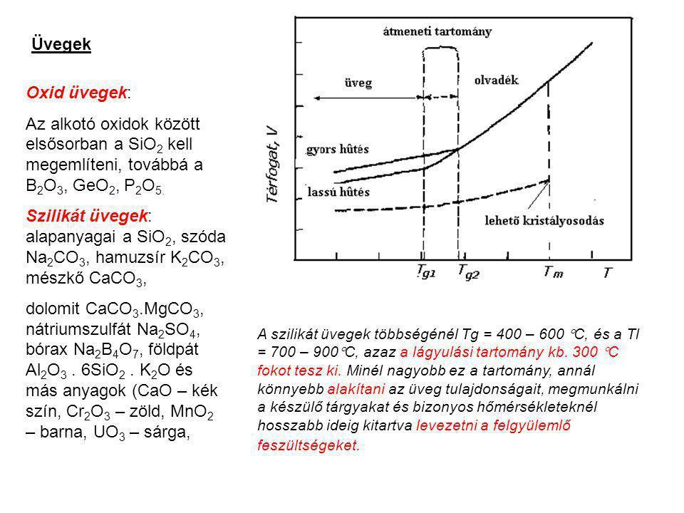 Üvegek Oxid üvegek: Az alkotó oxidok között elsősorban a SiO 2 kell megemlíteni, továbbá a B 2 O 3, GeO 2, P 2 O 5. Szilikát üvegek: alapanyagai a SiO