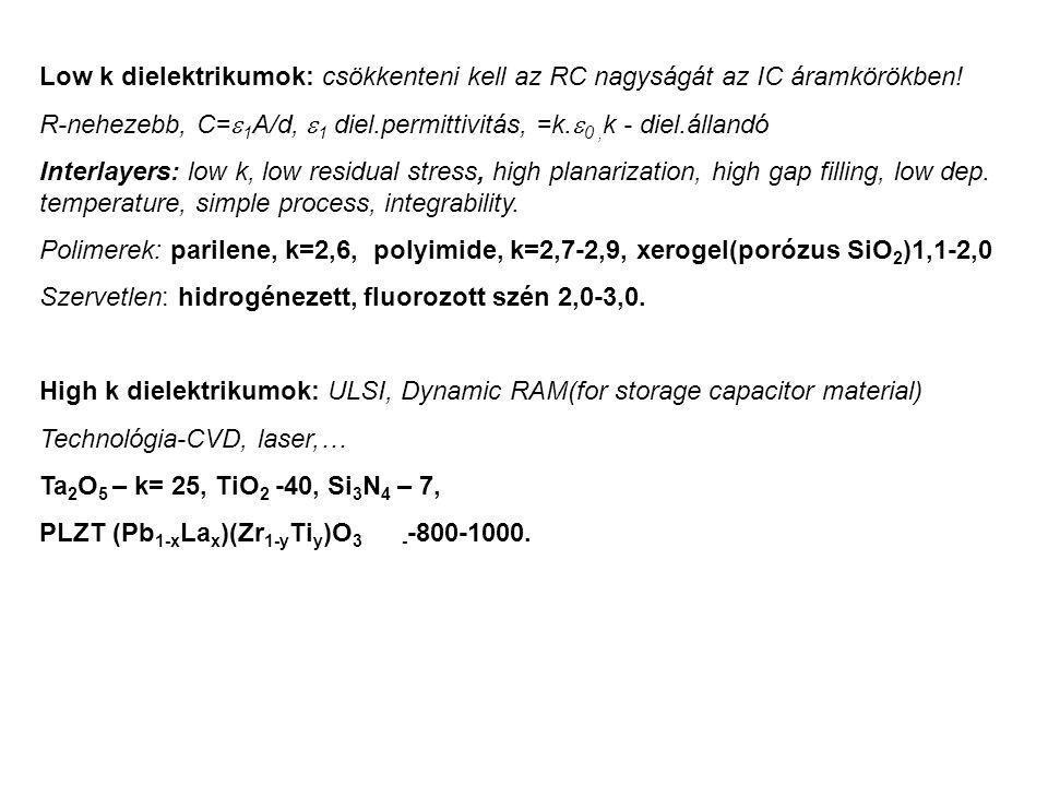 Low k dielektrikumok: csökkenteni kell az RC nagyságát az IC áramkörökben! R-nehezebb, C=  1 A/d,  1 diel.permittivitás, =k.  0, k - diel.állandó I