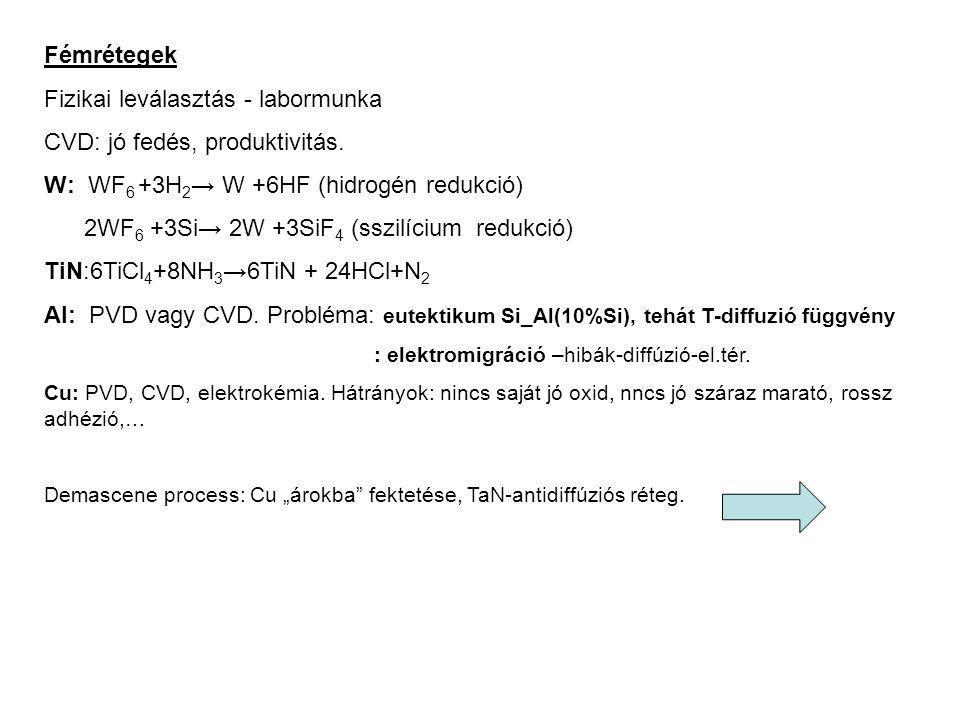 Fémrétegek Fizikai leválasztás - labormunka CVD: jó fedés, produktivitás. W: WF 6 +3H 2 → W +6HF (hidrogén redukció) 2WF 6 +3Si→ 2W +3SiF 4 (sszilíciu