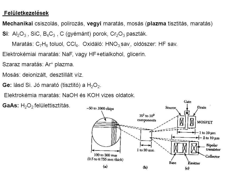Felületkezelések Mechanikai csiszolás, polirozás, vegyi maratás, mosás (plazma tisztitás, maratás) Si: Al 2 O 3, SiC, B 4 C 3, C (gyémánt) porok, Cr 2