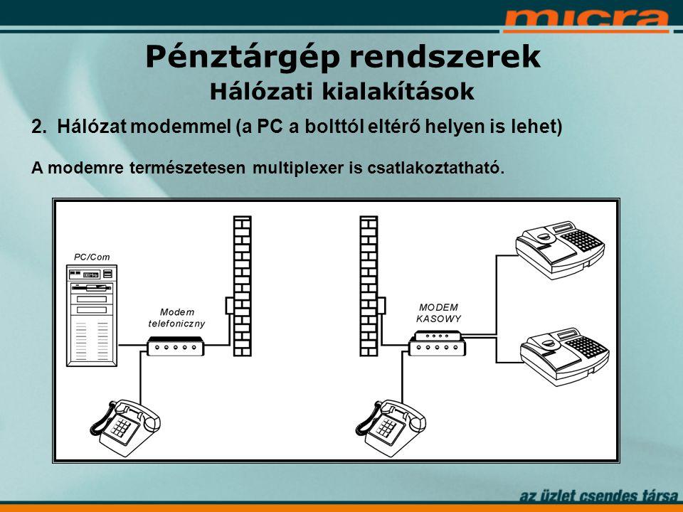 Hálózati kialakítások 2.Hálózat modemmel (a PC a bolttól eltérő helyen is lehet) Pénztárgép rendszerek A modemre természetesen multiplexer is csatlakoztatható.