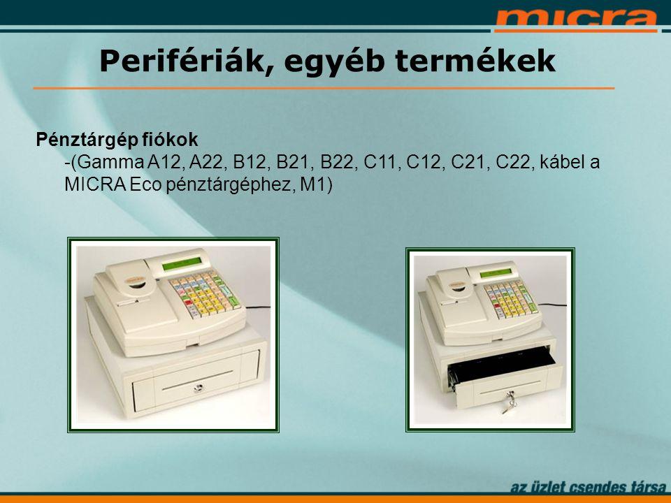 Pénztárgép fiókok -(Gamma A12, A22, B12, B21, B22, C11, C12, C21, C22, kábel a MICRA Eco pénztárgéphez, M1) Perifériák, egyéb termékek