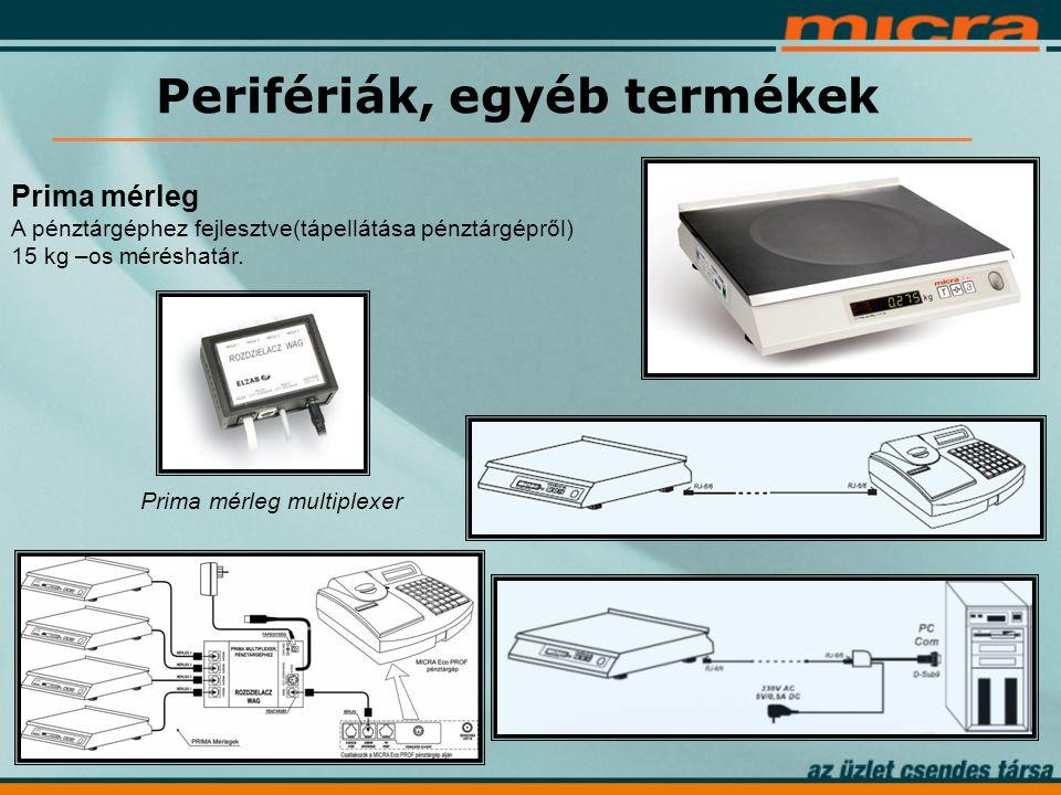 Prima mérleg A pénztárgéphez fejlesztve(tápellátása pénztárgépről) 15 kg –os méréshatár.