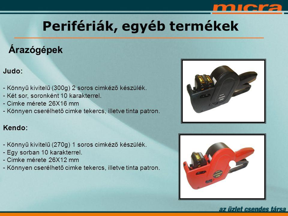 Perifériák, egyéb termékek Árazógépek Judo: - Könnyű kivitelű (300g) 2 soros cimkéző készülék.