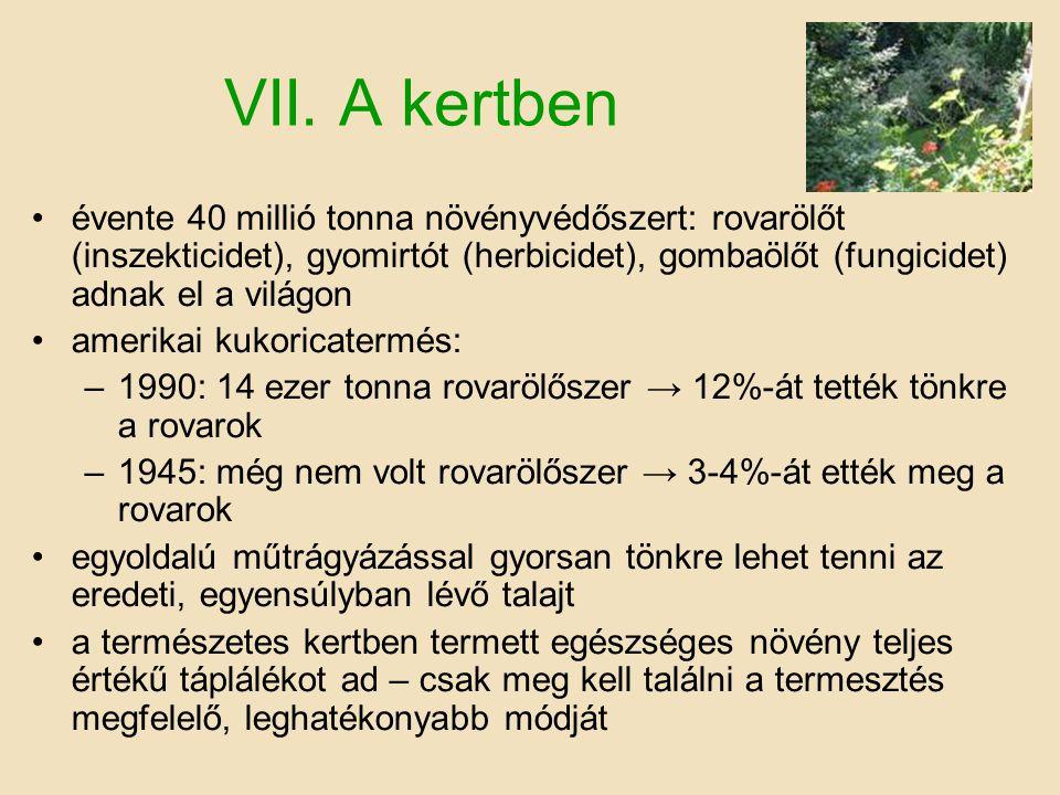 VII. A kertben •évente 40 millió tonna növényvédőszert: rovarölőt (inszekticidet), gyomirtót (herbicidet), gombaölőt (fungicidet) adnak el a világon •