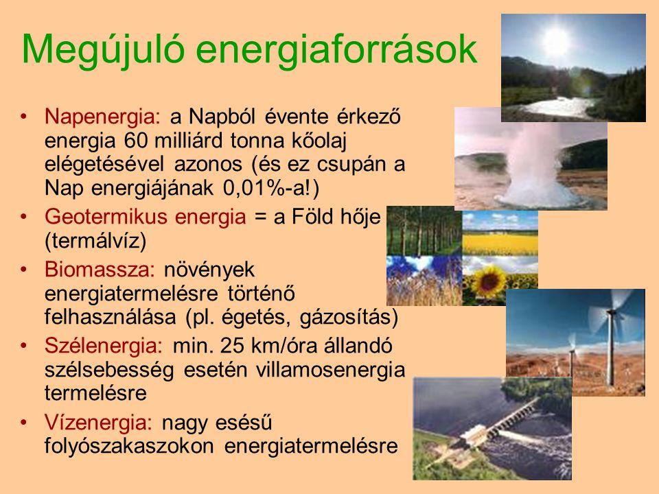 Megújuló energiaforrások •Napenergia: a Napból évente érkező energia 60 milliárd tonna kőolaj elégetésével azonos (és ez csupán a Nap energiájának 0,01%-a!) •Geotermikus energia = a Föld hője (termálvíz) •Biomassza: növények energiatermelésre történő felhasználása (pl.