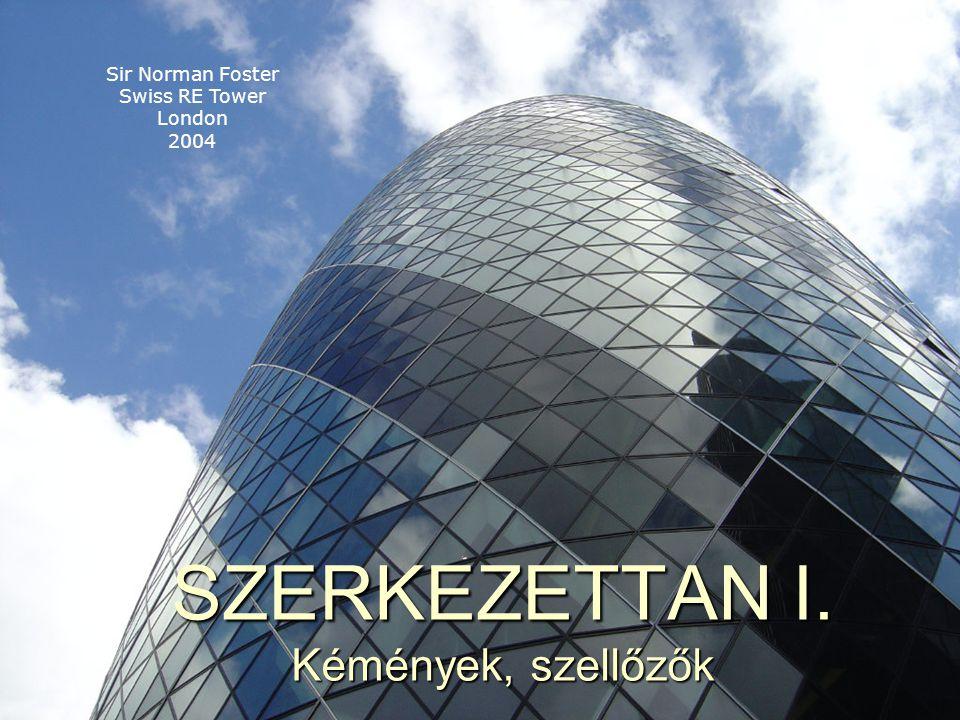 SZERKEZETTAN I. Kémények, szellőzők Sir Norman Foster Swiss RE Tower London 2004