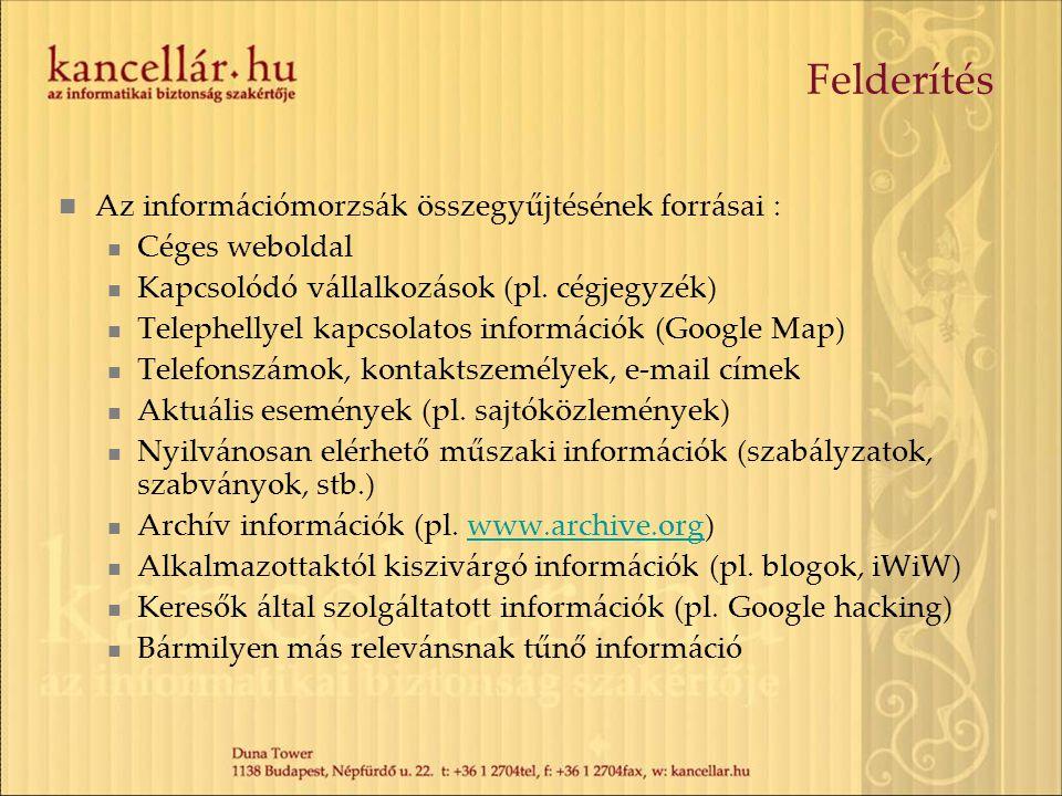 Felderítés  Az információmorzsák összegyűjtésének forrásai :  Céges weboldal  Kapcsolódó vállalkozások (pl. cégjegyzék)  Telephellyel kapcsolatos