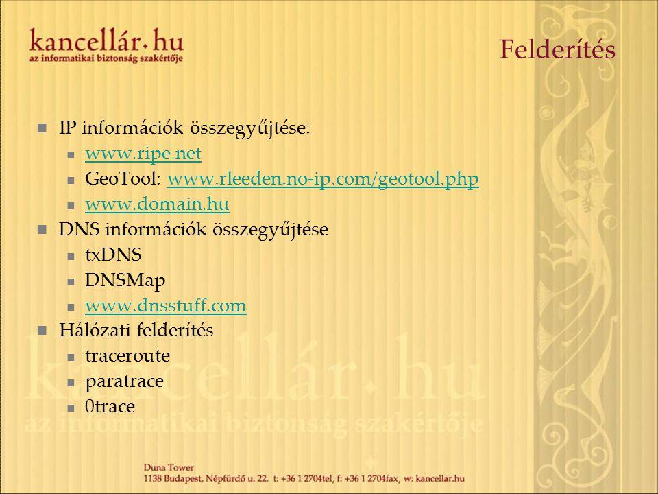 Felderítés  IP információk összegyűjtése:  www.ripe.net www.ripe.net  GeoTool: www.rleeden.no-ip.com/geotool.phpwww.rleeden.no-ip.com/geotool.php 