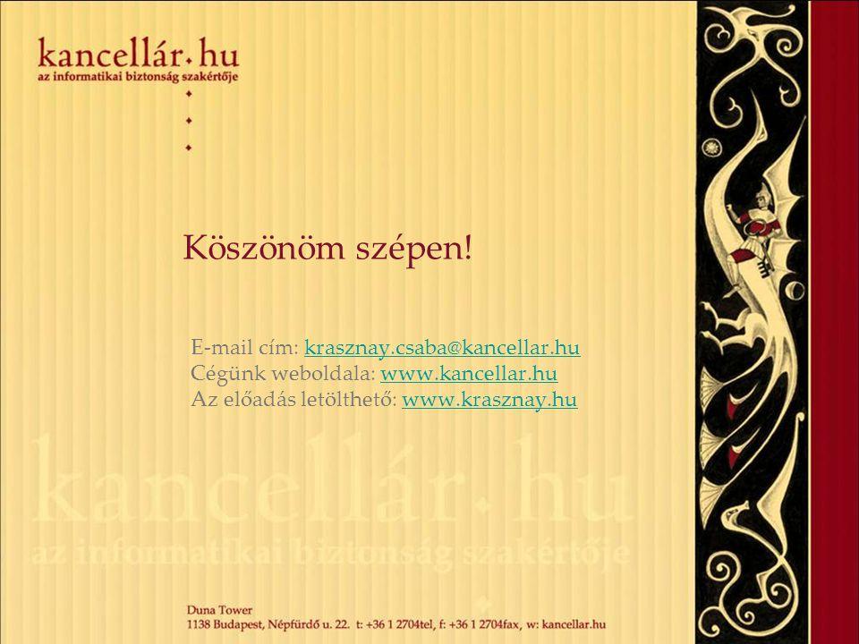 Köszönöm szépen! E-mail cím: krasznay.csaba@kancellar.hukrasznay.csaba@kancellar.hu Cégünk weboldala: www.kancellar.huwww.kancellar.hu Az előadás letö