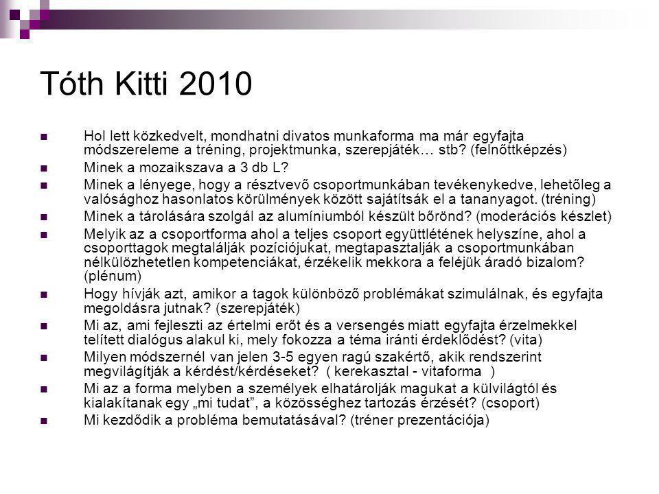 Tóth Kitti 2010  Hol lett közkedvelt, mondhatni divatos munkaforma ma már egyfajta módszereleme a tréning, projektmunka, szerepjáték… stb? (felnőttké