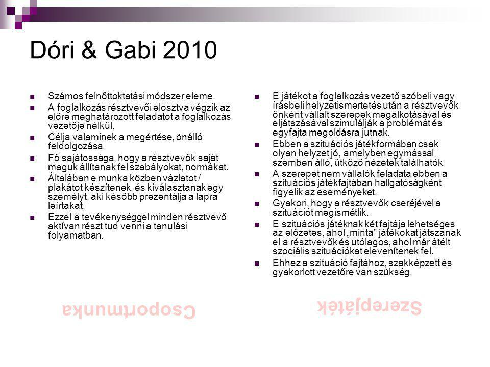 Dóri & Gabi 2010  Számos felnőttoktatási módszer eleme.  A foglalkozás résztvevői elosztva végzik az előre meghatározott feladatot a foglalkozás vez