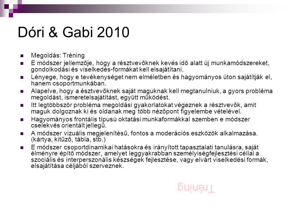 Dóri & Gabi 2010  Megoldás: Tréning  E módszer jellemzője, hogy a résztvevőknek kevés idő alatt új munkamódszereket, gondolkodási és viselkedés-form