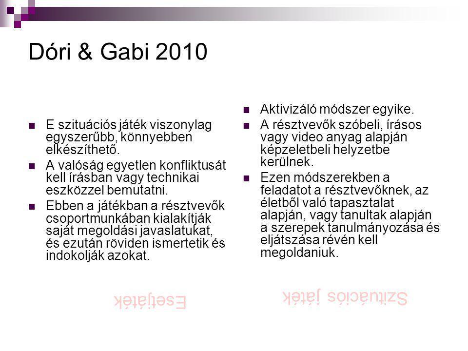 Dóri & Gabi 2010  E szituációs játék viszonylag egyszerűbb, könnyebben elkészíthető.  A valóság egyetlen konfliktusát kell írásban vagy technikai es