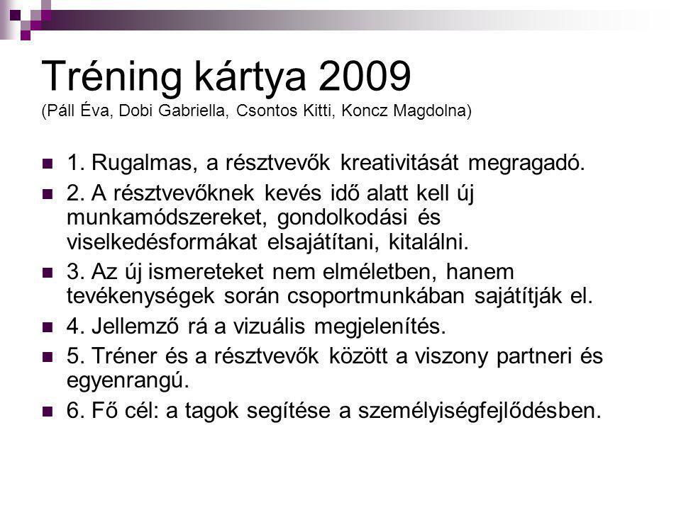 Tréning kártya 2009 (Páll Éva, Dobi Gabriella, Csontos Kitti, Koncz Magdolna)  1. Rugalmas, a résztvevők kreativitását megragadó.  2. A résztvevőkne
