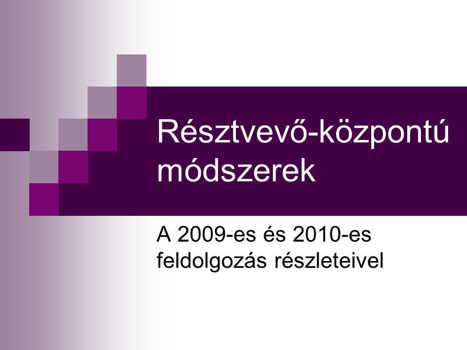 Résztvevő-központú módszerek A 2009-es és 2010-es feldolgozás részleteivel