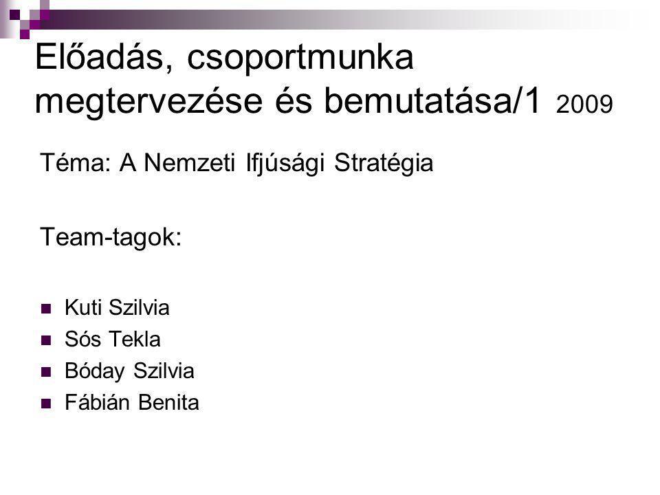 Előadás, csoportmunka megtervezése és bemutatása/1 2009 Téma: A Nemzeti Ifjúsági Stratégia Team-tagok:  Kuti Szilvia  Sós Tekla  Bóday Szilvia  Fá