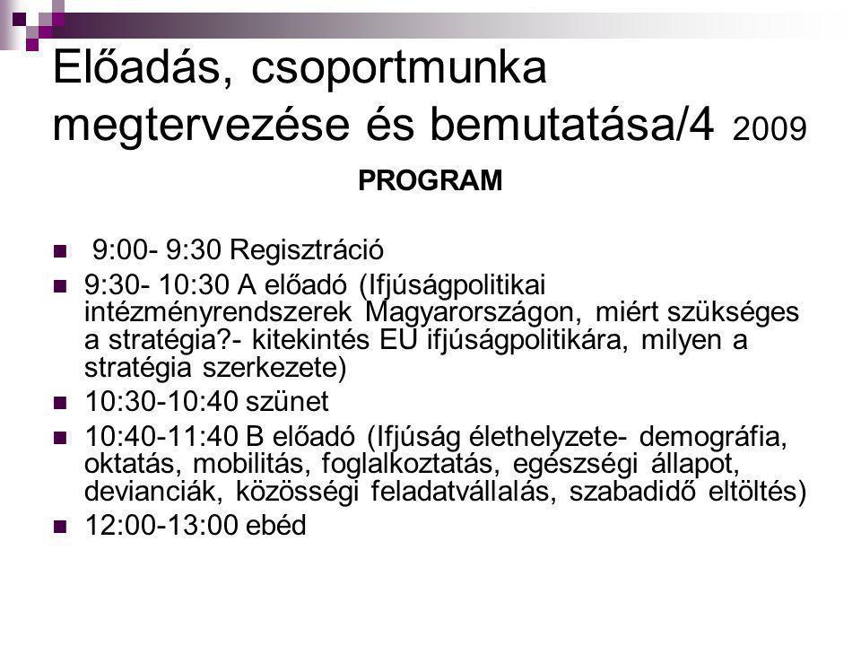 Előadás, csoportmunka megtervezése és bemutatása/4 2009 PROGRAM  9:00- 9:30 Regisztráció  9:30- 10:30 A előadó (Ifjúságpolitikai intézményrendszerek