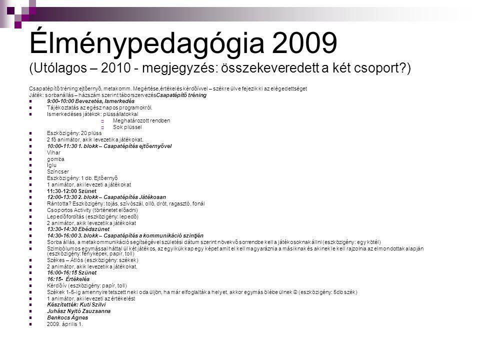 Élménypedagógia 2009 (Utólagos – 2010 - megjegyzés: összekeveredett a két csoport?) Csapatépítő tréning:ejtőernyő, metakomm. Megértése,értékelés kérdő