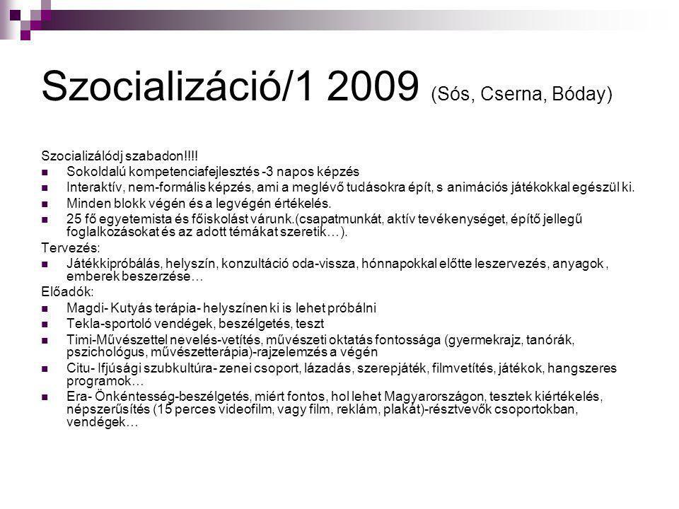 Szocializáció/1 2009 (Sós, Cserna, Bóday) Szocializálódj szabadon!!!!  Sokoldalú kompetenciafejlesztés -3 napos képzés  Interaktív, nem-formális kép