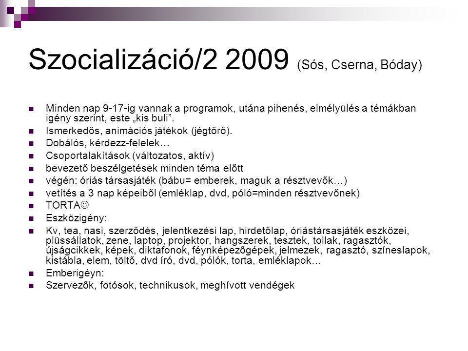"""Szocializáció/2 2009 (Sós, Cserna, Bóday)  Minden nap 9-17-ig vannak a programok, utána pihenés, elmélyülés a témákban igény szerint, este """"kis buli"""""""
