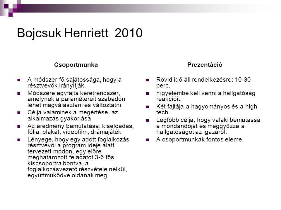 Bojcsuk Henriett 2010 Csoportmunka  A módszer fő sajátossága, hogy a résztvevők irányítják.  Módszere egyfajta keretrendszer, amelynek a paraméterei
