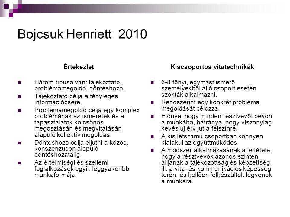 Bojcsuk Henriett 2010 Értekezlet  Három típusa van: tájékoztató, problémamegoldó, döntéshozó.  Tájékoztató célja a tényleges információcsere.  Prob