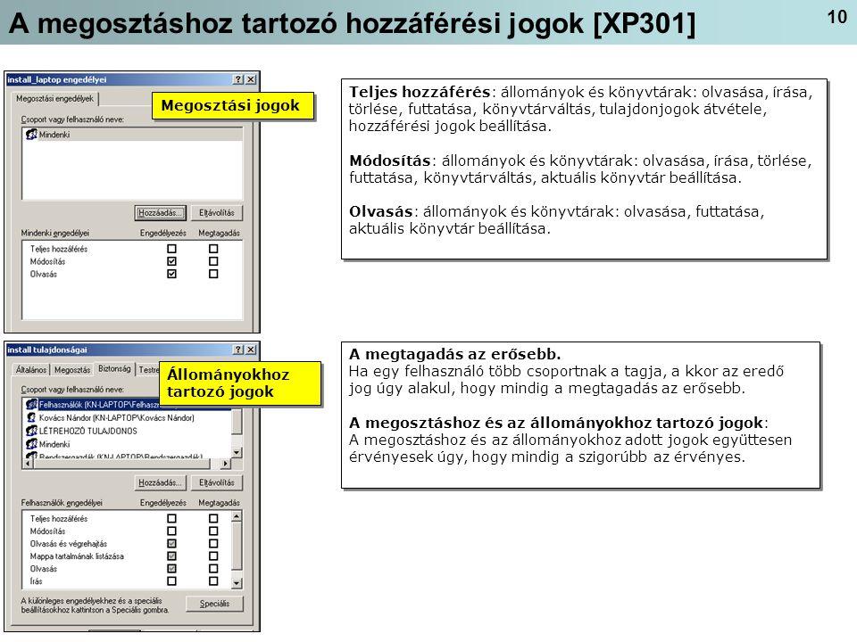 10 A megosztáshoz tartozó hozzáférési jogok [XP301] Teljes hozzáférés: állományok és könyvtárak: olvasása, írása, törlése, futtatása, könyvtárváltás, tulajdonjogok átvétele, hozzáférési jogok beállítása.