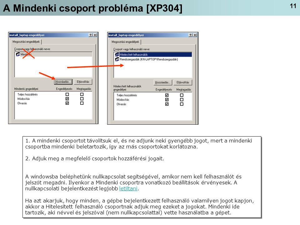 11 A Mindenki csoport probléma [XP304] 1.