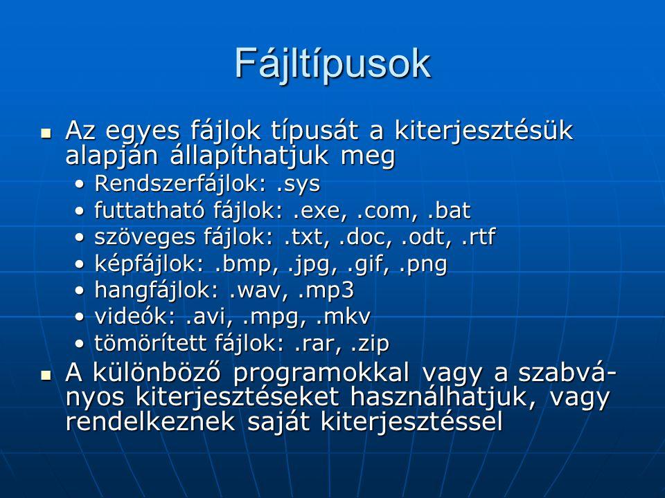 Fájltípusok  Az egyes fájlok típusát a kiterjesztésük alapján állapíthatjuk meg •Rendszerfájlok:.sys •futtatható fájlok:.exe,.com,.bat •szöveges fájl