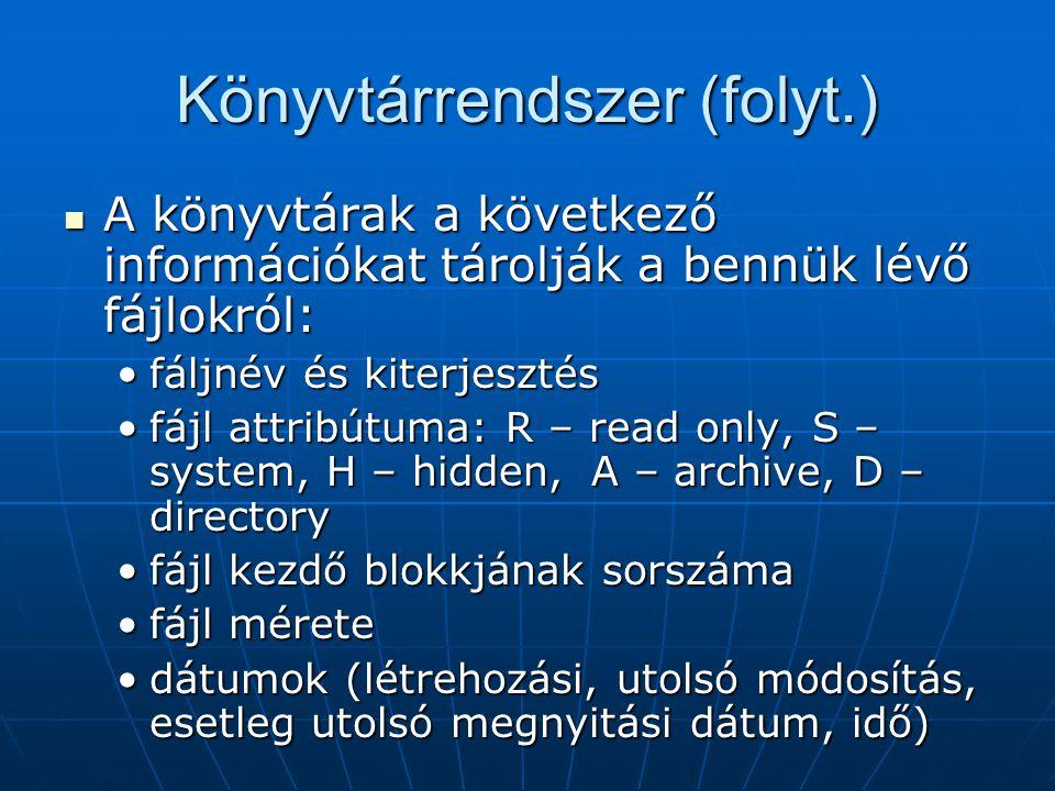 Könyvtárrendszer (folyt.)  A könyvtárak a következő információkat tárolják a bennük lévő fájlokról: •fáljnév és kiterjesztés •fájl attribútuma: R – r