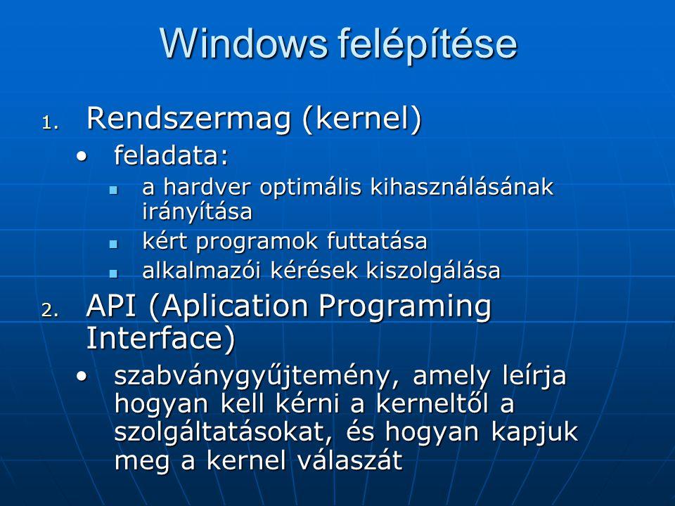 Windows felépítése 1. Rendszermag (kernel) •feladata:  a hardver optimális kihasználásának irányítása  kért programok futtatása  alkalmazói kérések