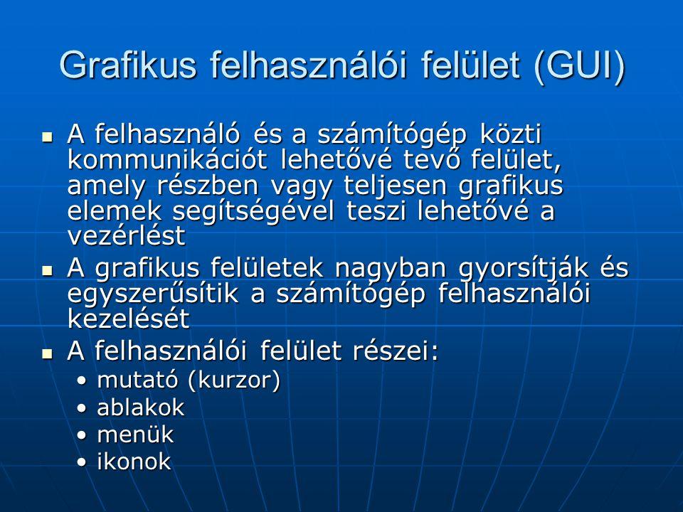 Grafikus felhasználói felület (GUI)  A felhasználó és a számítógép közti kommunikációt lehetővé tevő felület, amely részben vagy teljesen grafikus el