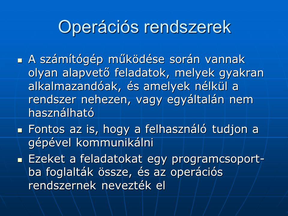 Operációs rendszerek  A számítógép működése során vannak olyan alapvető feladatok, melyek gyakran alkalmazandóak, és amelyek nélkül a rendszer neheze