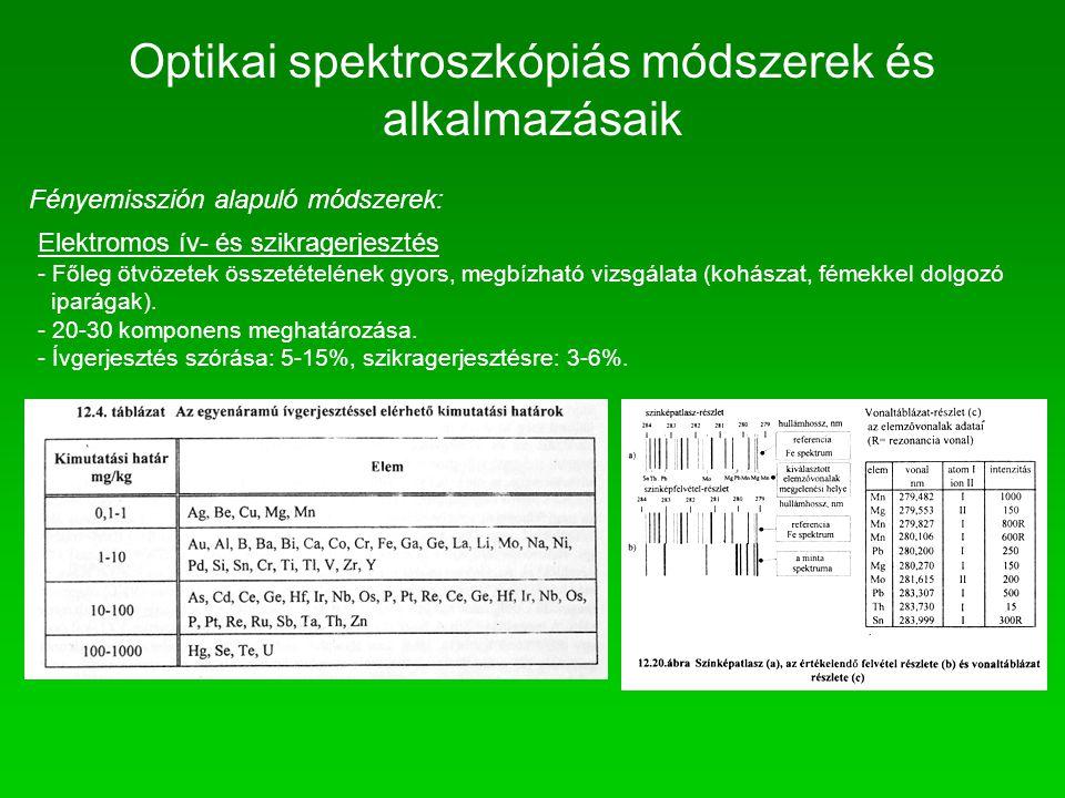Fényemisszión alapuló módszerek: Elektromos ív- és szikragerjesztés - Főleg ötvözetek összetételének gyors, megbízható vizsgálata (kohászat, fémekkel
