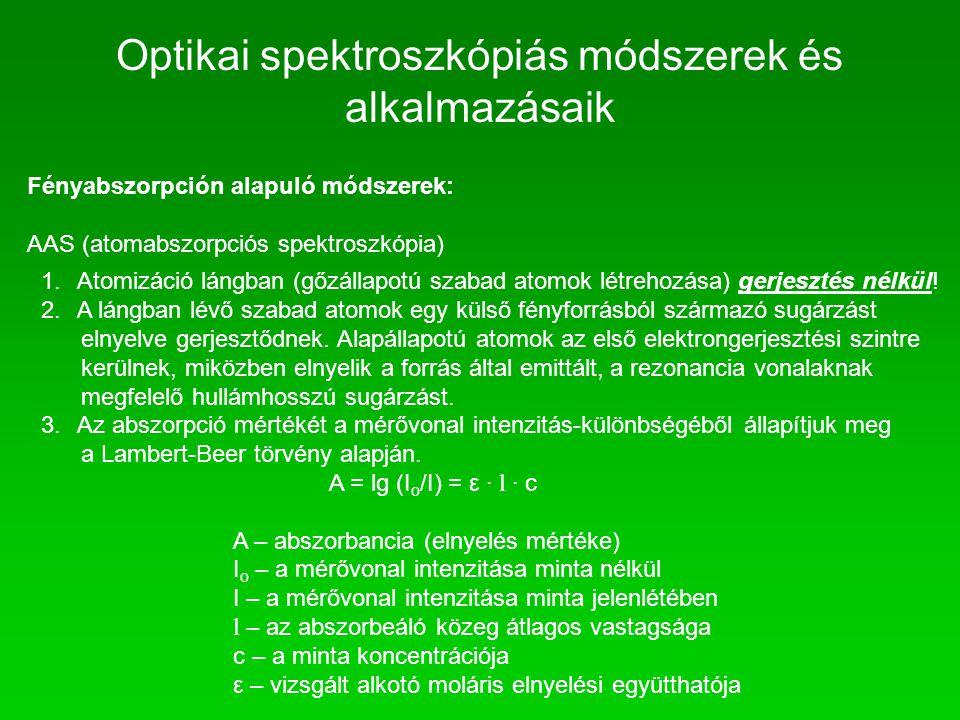 Fényabszorpción alapuló módszerek: AAS (atomabszorpciós spektroszkópia) 1.Atomizáció lángban (gőzállapotú szabad atomok létrehozása) gerjesztés nélkül